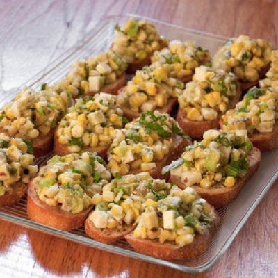 Grilled Corn, Avocado, and Queso Fresco Crostini Recipe