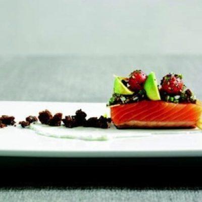 Richard Blais's Barely Smoked Salmon with Pumpernickel-Avocado-Egg Salsa and 'Everything Bagel' Vinaigrette