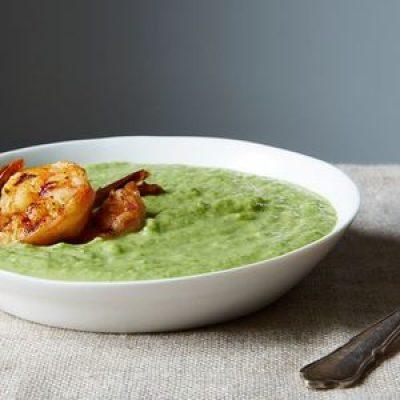 Green Gazpacho with Chili Cumin Shrimp