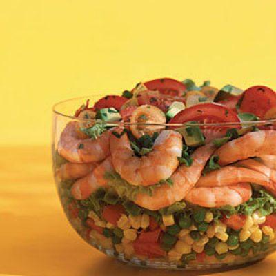 Layered Shrimp, Corn, and Pea Salad