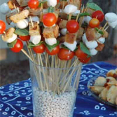 TMBC (Tomato, Mozzarella, Basil, Crouton) Skewers Recipe