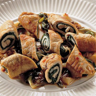 Pork involtini with chard and spring onions