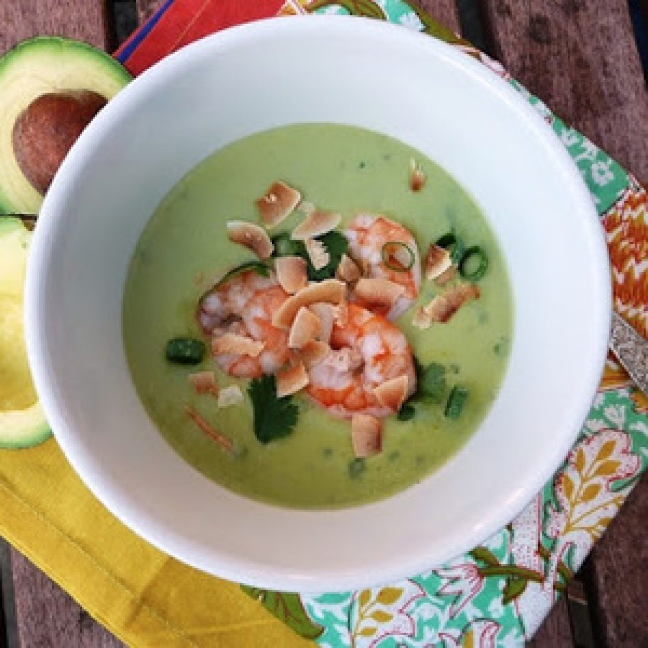 Chilled Thai-Inspired Creamy Avocado Coconut Soup with Poached Shrimp recipes