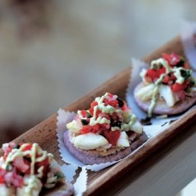 Blue Corn Blinis with Crab and Avocado Crema Recipe