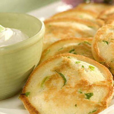 Savory Appetizer Pancakes with Garlic Sour Cream