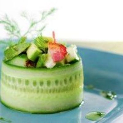 Cucumber rolled avocado appetizer